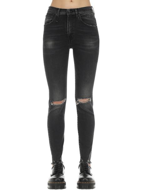 R13 High Rise Skinny Cotton Denim Jeans in black