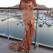 dress,ruffle split,champagne dress,gold dress,satin dress,cowl neck