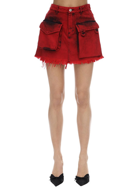 MARQUES'ALMEIDA Patch Pocket Cotton Denim Mini Skirt in red