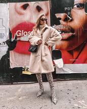 shoes,over the knee boots,snake print,mango,teddy bear coat,black bag,gucci bag,turtleneck sweater,black sunglasses