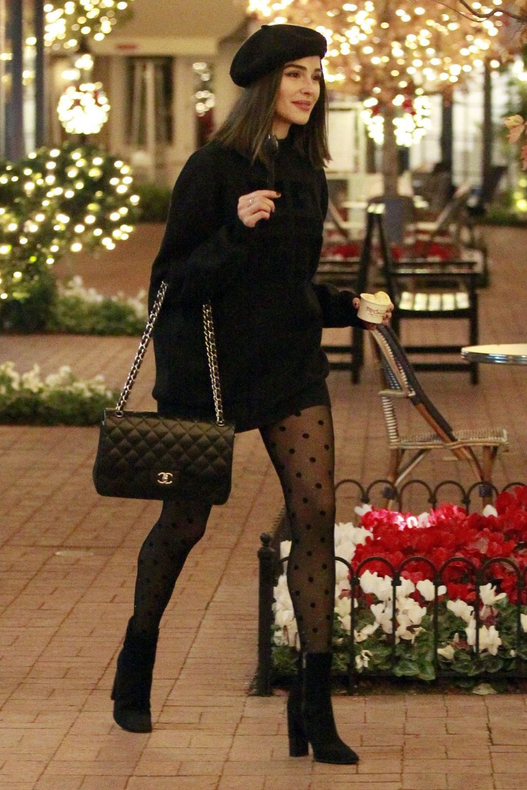 sweater tights polka dots olivia culpo celebrity black black sweater blogger streetstyle fall outfits