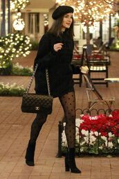 sweater,tights,polka dots,olivia culpo,celebrity,black,black sweater,blogger,streetstyle,fall outfits