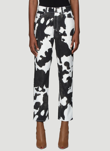 Burberry Cow Print Straight Leg Jeans in Black size 25