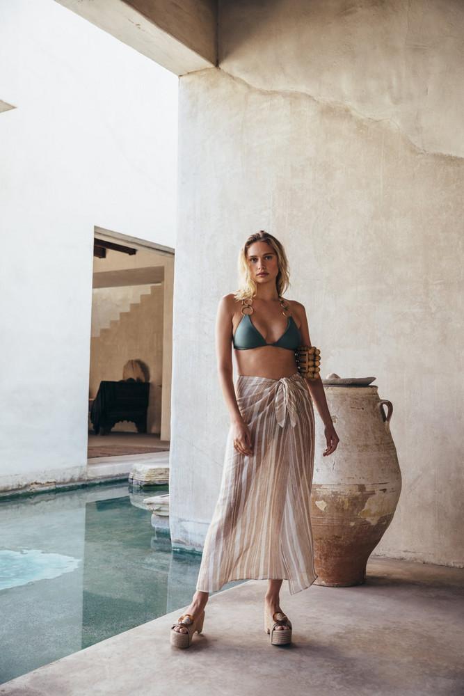 Cult Gaia Nila Skirt - Natural Multi Stripe                                                                                               $298.00