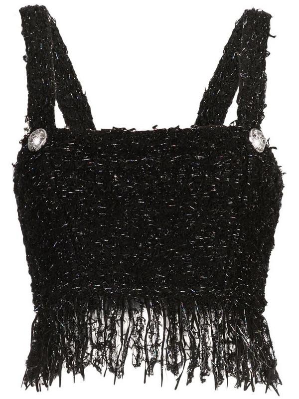 Balmain cropped tweed tank top in noir