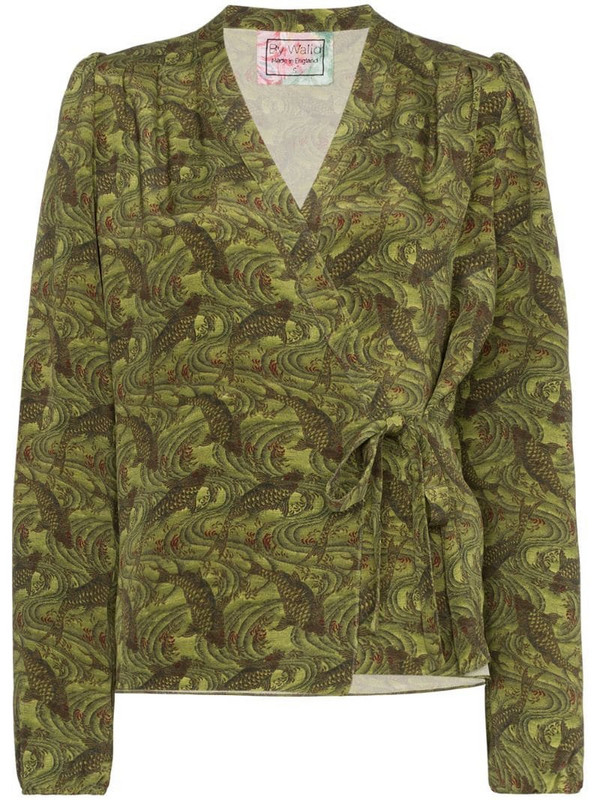By Walid Haidee Japanese print blouse in green