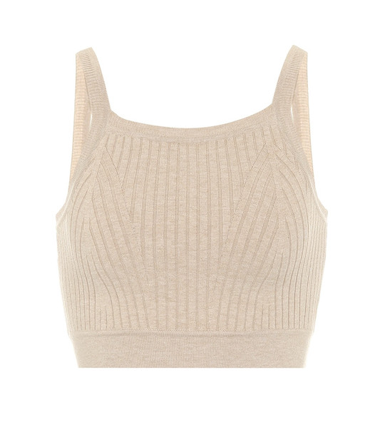 Live The Process Ribbed-knit crop top in beige