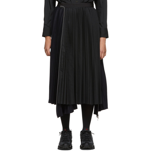 Sacai Navy and Black Melton Wool Pleated Skirt