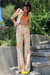 pants,jacket,print,printed pants,dua lipa,celebrity,bra,instagram