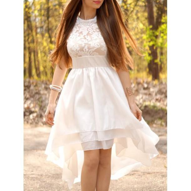 dress white summer spring asymmetrical girly romantic summer dress fashion style rosewholesale.com rose wholesale