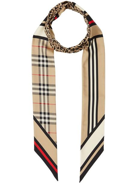 Burberry montage-print silk skinny scarf in neutrals