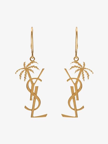 Saint Laurent gold tone monogram palm tree earrings