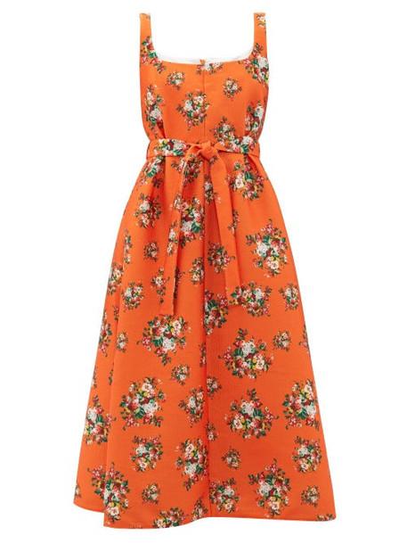 Emilia Wickstead - Shelly Floral Print Cloqué Dress - Womens - Orange Multi