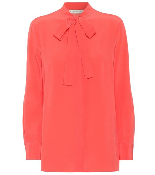 Etro Silk-crêpe blouse in pink