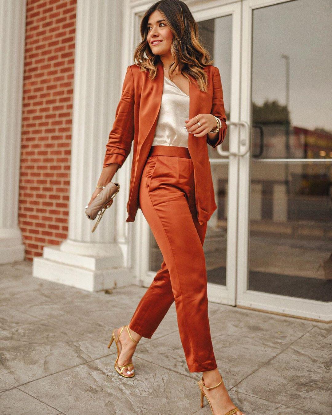 jacket blazer high waisted pants satin sandal heels bag tank top