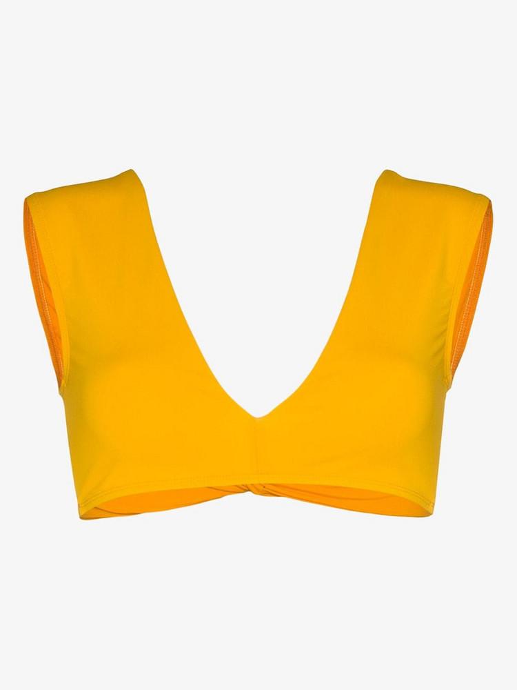 Beth Richards twist bikini top in yellow