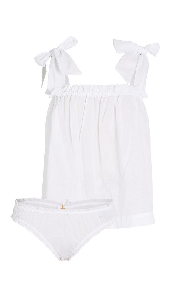 LE PETIT TROU Lou Nightdress with Briefs in white