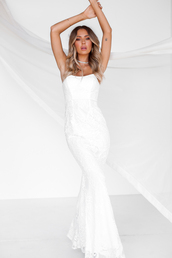 dress,white,prom,gown,formal,maxi,strapless,lace