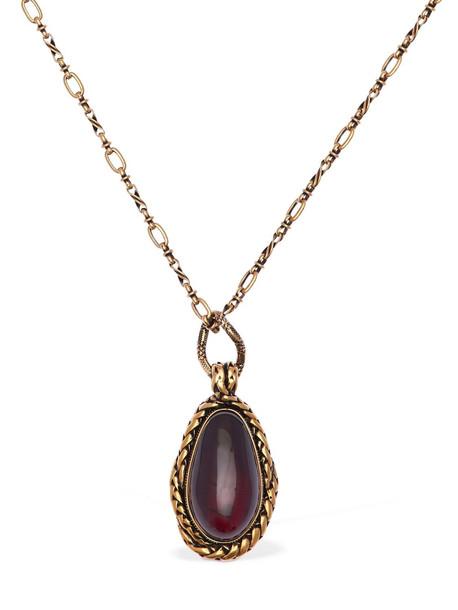ALEXANDER MCQUEEN Chain Necklace W/ Garnet Stone in gold / red