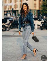 jeans,straight jeans,slingbacks,denim jacket,bag