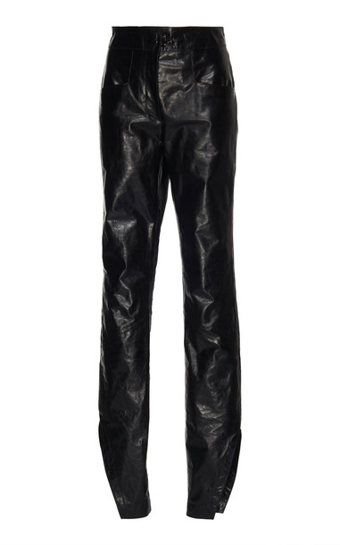 Olivier Theyskens Fitted Leather Pant in black