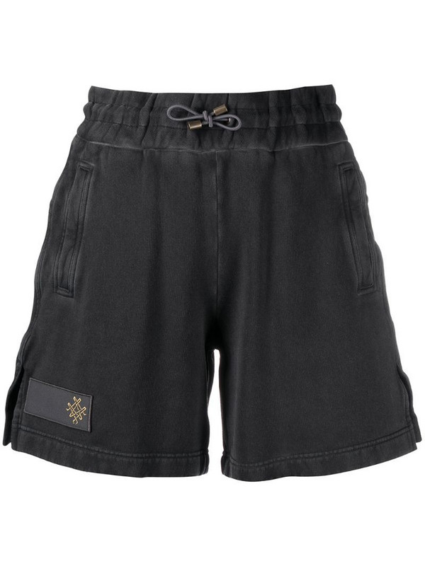 Mr & Mrs Italy embroidered lgoo shorts in black