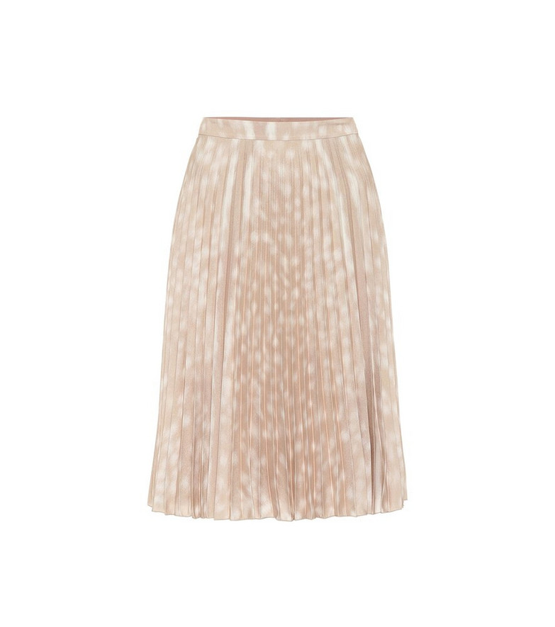 Burberry Printed pleated midi skirt in beige