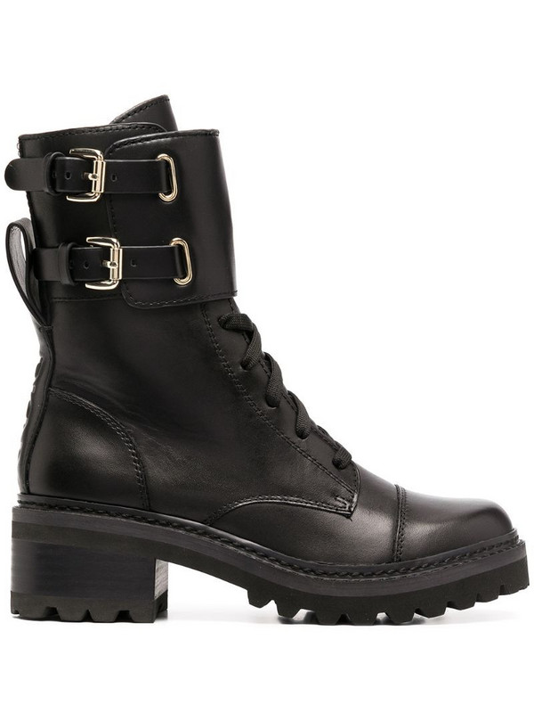 DKNY lace-up side buckle boots in black