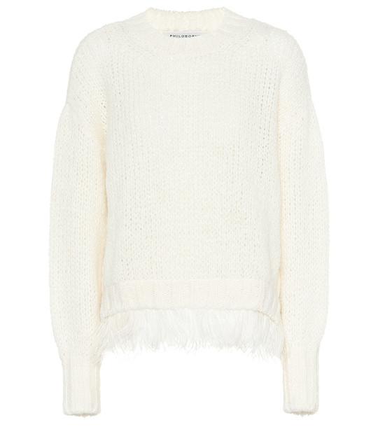 Philosophy Di Lorenzo Serafini Feather-trimmed wool-blend sweater in white
