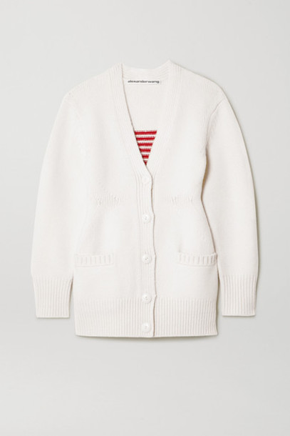 Alexander Wang - Intarsia Wool-blend Cardigan - Ivory