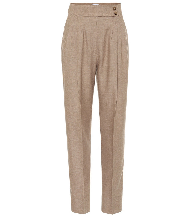 Burberry High-rise wool-blend carrot pants in beige