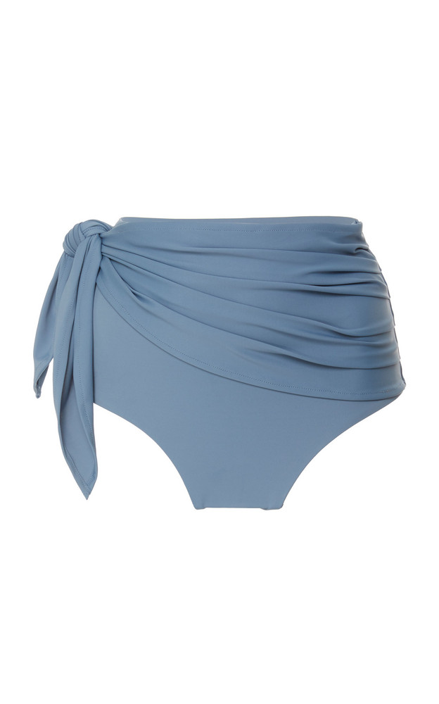 Palm Bella Ruched High-Waisted Bikini Brief Bottom Size: 2 in blue
