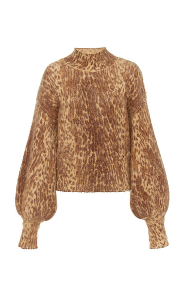 Zimmermann Printed Mohair-Blend Sweater in brown