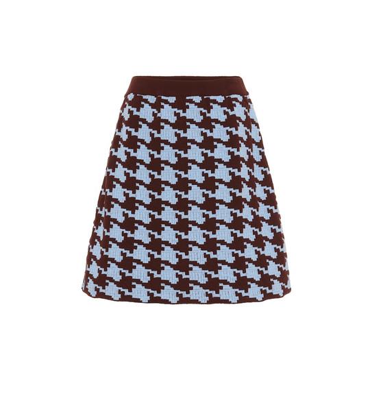 Marni Houndstooth wool-blend miniskirt in blue