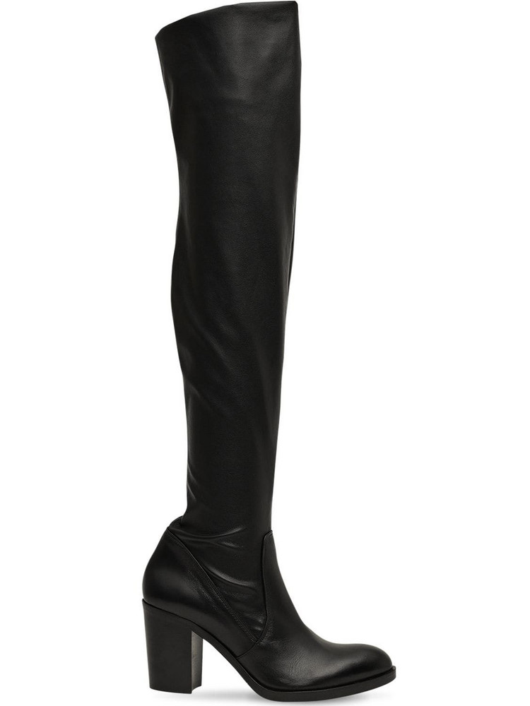 STRATEGIA 80mm Stretch Faux Leather Boots in black