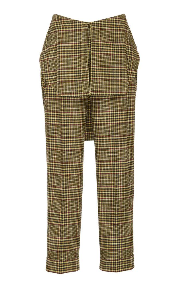 Hellessy Kooning Striped Crepe Straight-Leg Pants in yellow