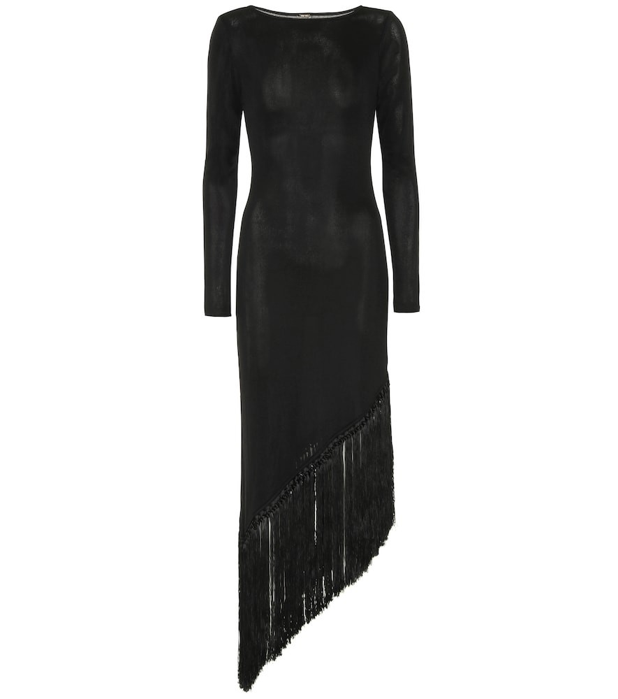 Cult Gaia Sharona fringe-trimmed dress in black
