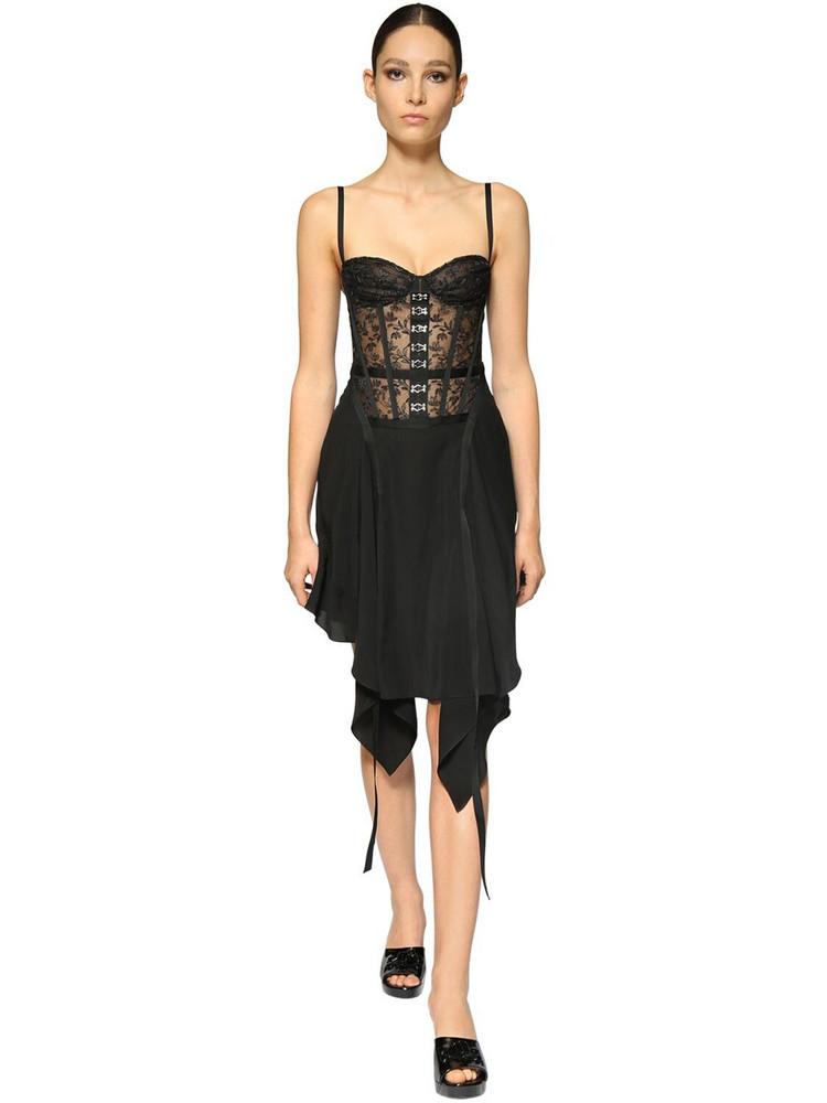 OLIVIER THEYSKENS Lace Corset Dress W/ Hook & Eye Details in black