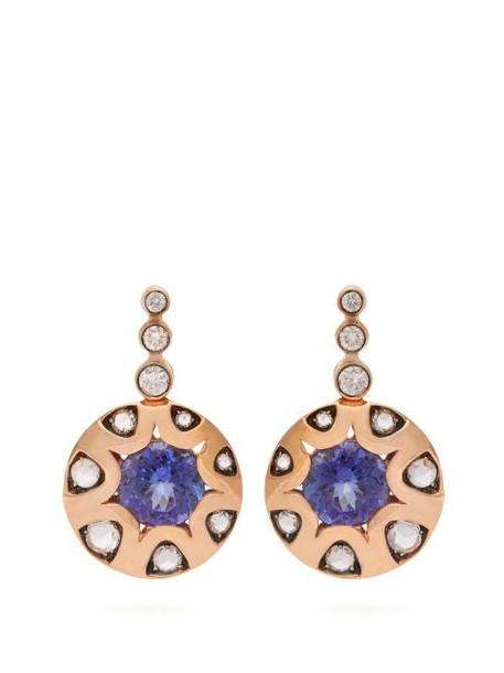 Selim Mouzannar - Diamond, Tanzanite & 18kt Rose Gold Earrings - Womens - Blue