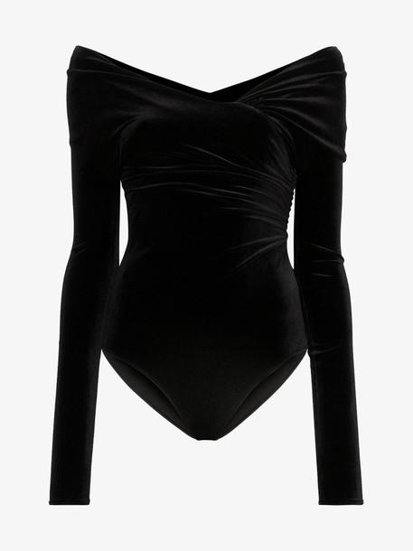 Alexandre Vauthier off shoulder ruched velvet body in black