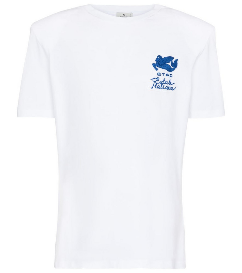 Etro Logo embroidered cotton T-shirt in blue