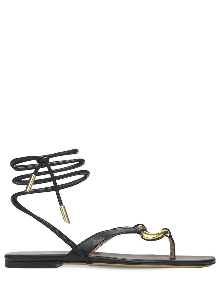 GIA COUTURE 10mm Levante Leather Thong Sandals in black