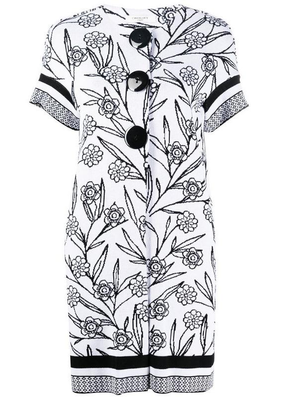 Charlott floral intarsia cardigan in white