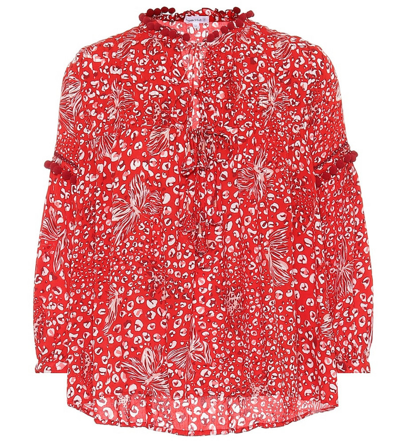 Poupette St Barth Exclusive to Mytheresa – Clara printed blouse in red