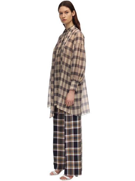 ROKH Cotton Voile Mini Shirt Dress in grey / beige