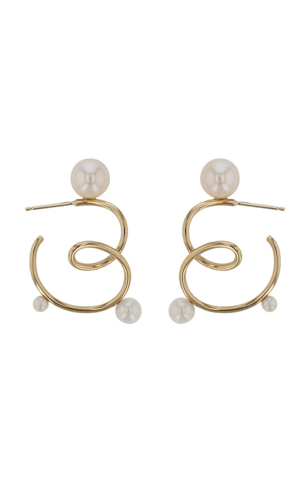 Sarah & Sebastian Buoy Silver Pearl Hoops Earrings in gold