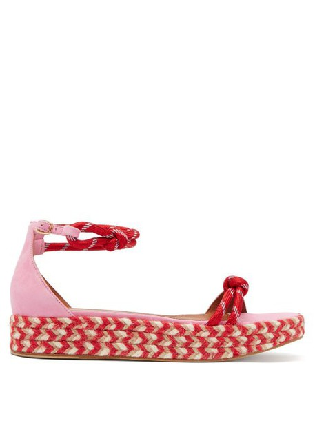 Malone Souliers - Simona Rope Strap Espadrille Sandals - Womens - Pink Multi