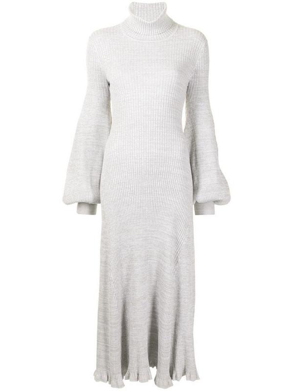 Anna Quan balloon-sleeve fine-knit dress in grey