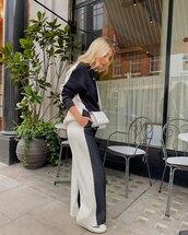 pants,wide-leg pants,sneakers,top,black and white,white bag