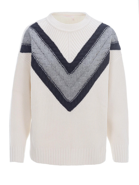 See by Chloé See By Chloe Cable Knit Sweater in grey / bianco